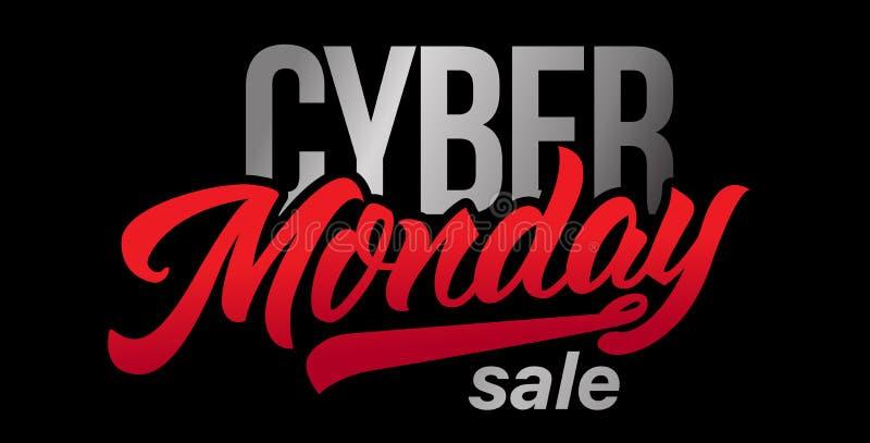 Handgemachte Beschriftung cyber-Montag-Verkaufs lizenzfreie abbildung