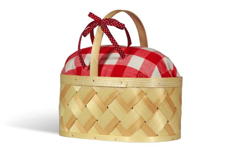 Handgemachte Brotdose des hölzernen Picknicks stockfotografie