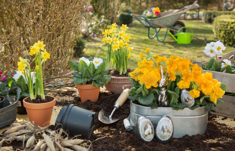 Handgemachte Dekoration Ostern mit Frühlingsblumen und -häschen zu Hause stockfotos