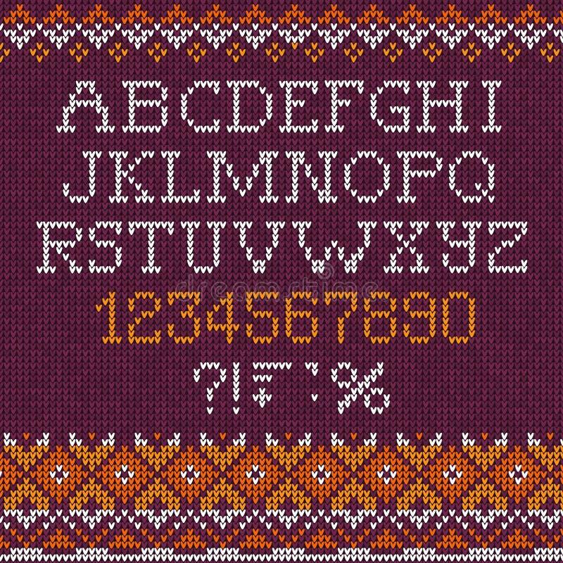 Handgemachte gestrickte abstrakte Hintergrundmustergussalphabet-ABC-Buchstaben, Zahlen, vektor abbildung
