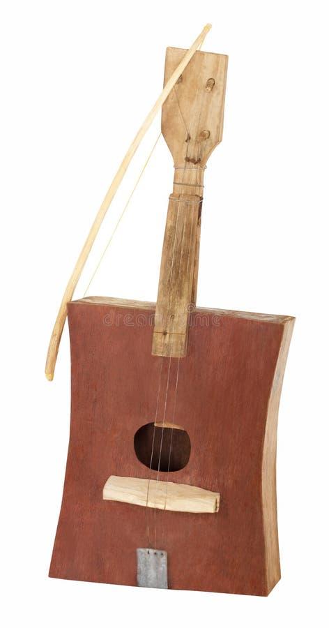 Handgemachte hölzerne afrikanische Gitarre oder Geige lizenzfreies stockbild