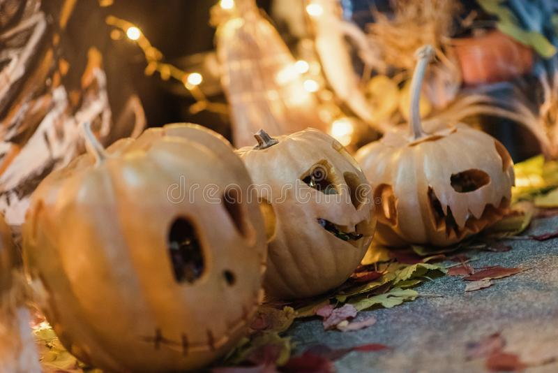 Handgemachte Hauptdekoration für die Feier von Halloween lizenzfreies stockbild