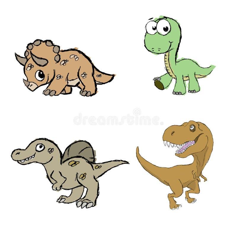 Handgemachte Illustration von vier Dinosauriern für Kinder Triceratops, Brontosaurus, spinosaurus und Tyrannosaurus rex lizenzfreie stockfotografie