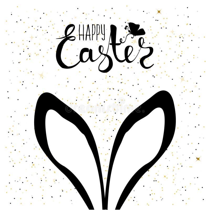 Handgemachte Karte, die mit dem Osterhasen sich versteckt Hasenohre im Hintergrund mit Konfettis Fröhliche Ostern Vektor lizenzfreie abbildung