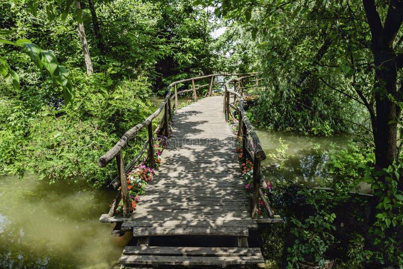 Handgemachte kleine romantische Holzbrücke über dem Flusswasser umgeben durch die Bäume und Blumen, die zu Pier unter Flussanlage lizenzfreie stockbilder