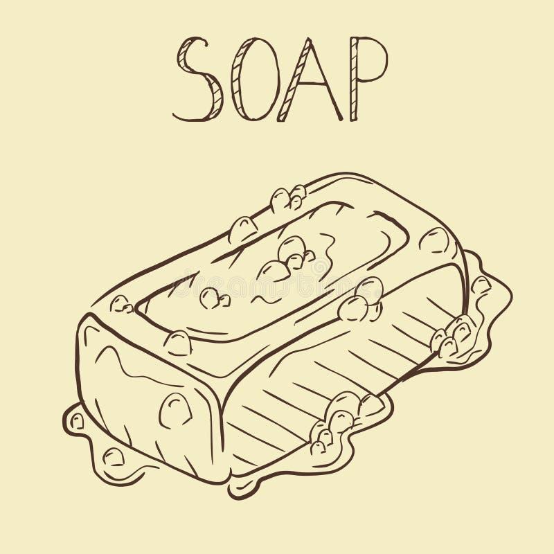 Handgemachte natürliche Seife Gezeichnete Illustration des Vektors Hand dekorativ stock abbildung