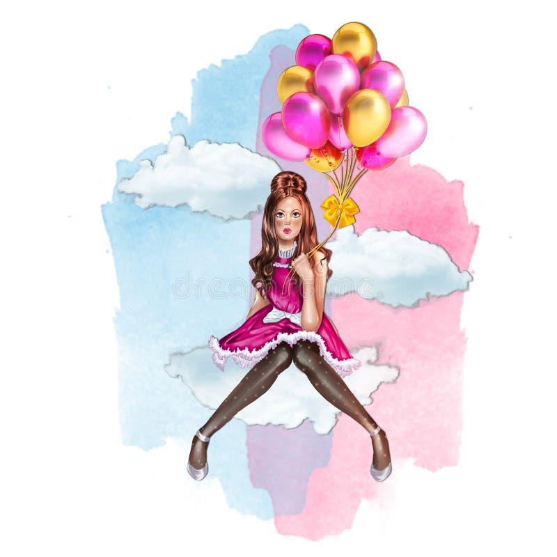 Handgemachte Raster Illustration - Mädchen, das die Ballone sitzen auf einer Wolke mit Aquarellhimmel als Hintergrund hält vektor abbildung