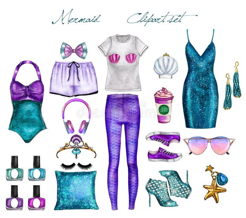 Handgemachte Raster-Mode-Illustration - Meerjungfrauausstattung stellen Sie ein - Clipartsatz lizenzfreie abbildung