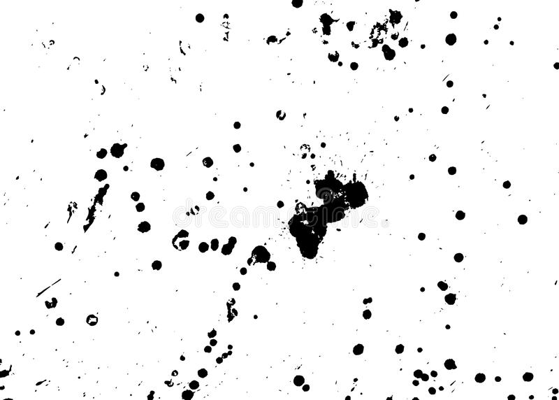 Handgemachte Schmutzbeschaffenheit Abstrakte Tinte lässt Hintergrund fallen Schwarzweiss-Schmutzillustration Vektoraquarell-Grafi stock abbildung