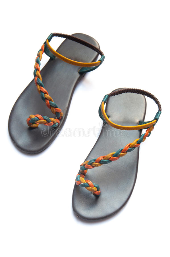 Handgemachte Schuh-thailändische Art auf weißem Hintergrund lizenzfreie stockbilder