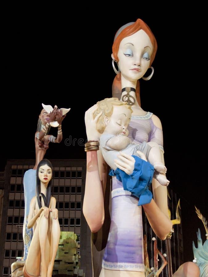 Handgemachte Zahlen in Las Fallas in Valencia, Spanien stockbild