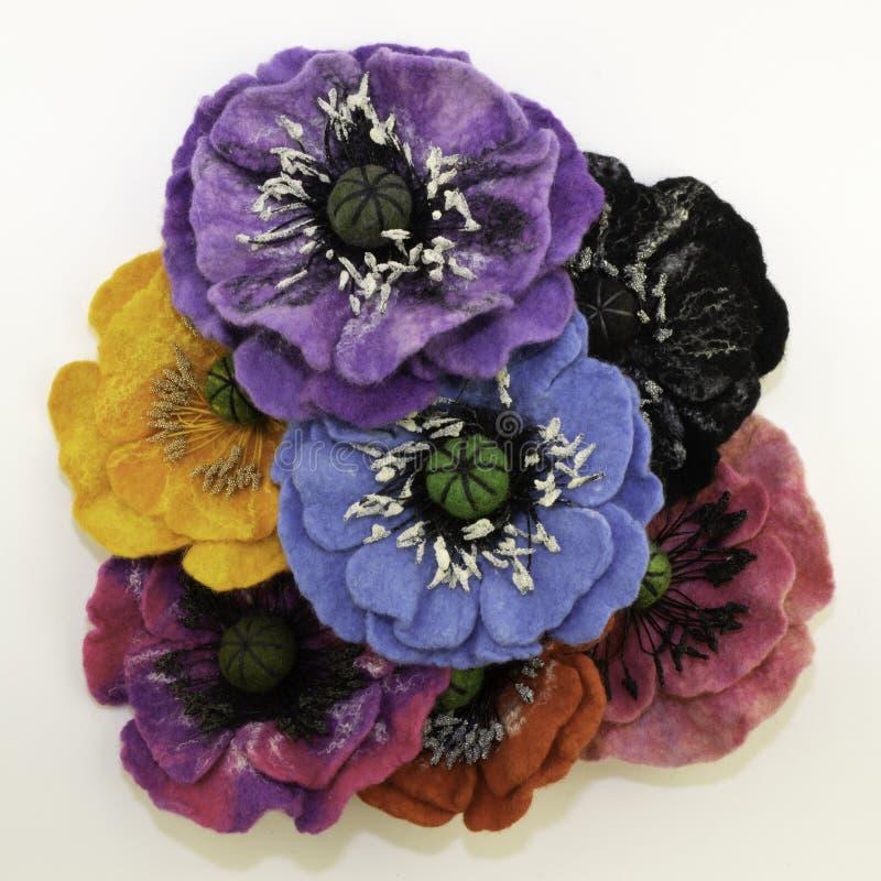 Handgemachter Filz, Blumen lizenzfreie stockbilder