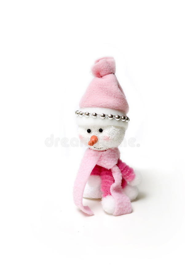 Handgemachter rosafarbener Schneemann in den weißen Hintergründen stockfotografie
