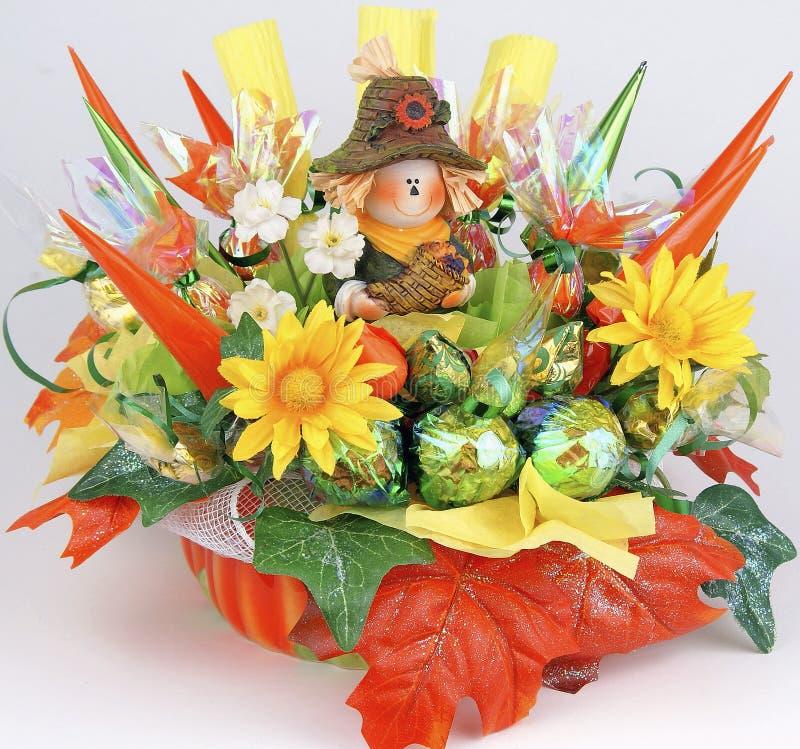 Handgemachter Tischschmuck für Erntedankfest von der Süßigkeit lizenzfreies stockfoto