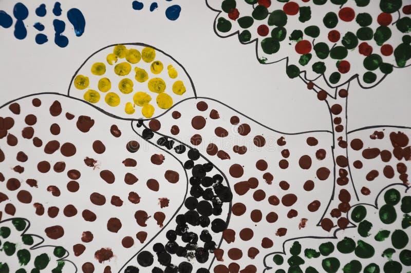Handgemachtes Bild der Sommerlandschaft mit Sonne, Applebaum und Bahn und eine schwarze Katze Abstrast-Kunst mit Punkten des Zeic stockfotografie