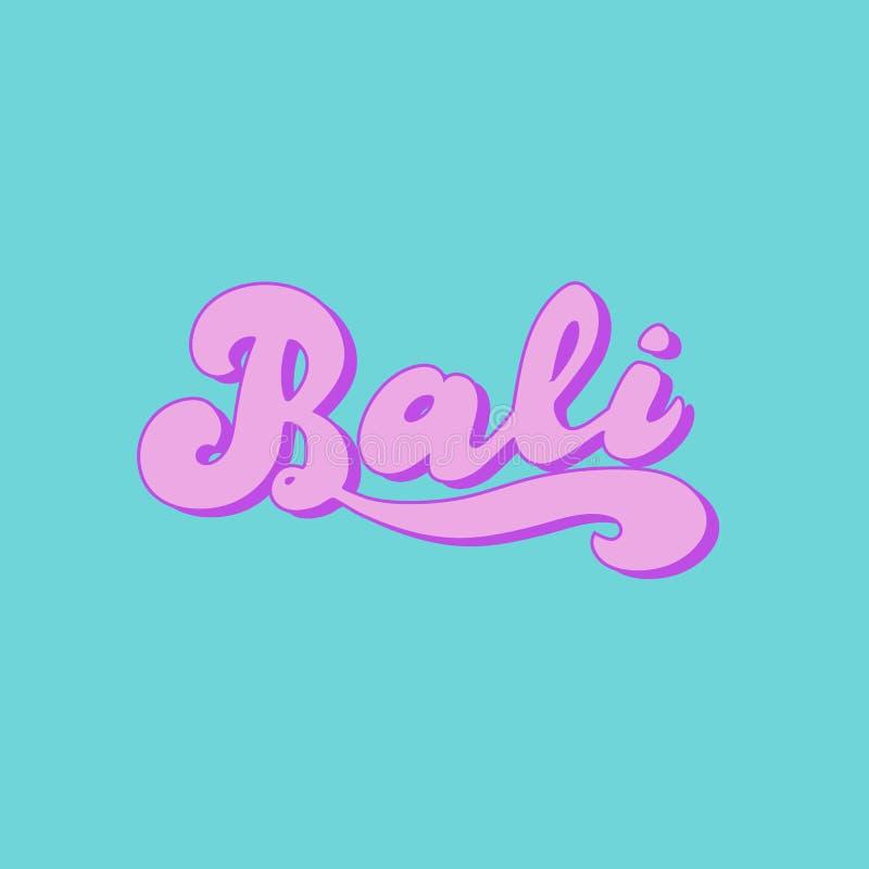 Handgemachtes Firmenzeichen Balis Stilvolles Strandfest oder surfendes Schulplakat Bali-Tourismuswebsite Druck für Andenken vektor abbildung