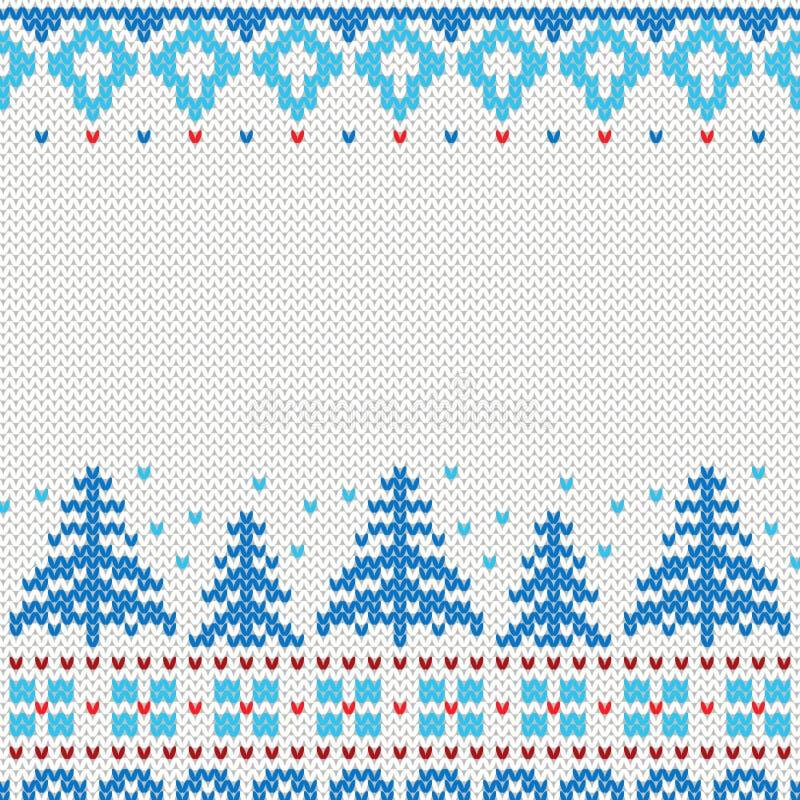 Handgemachtes gestricktes Hintergrundmuster mit Weihnachtsbäumen und Schneeflocken, skandinavische Verzierungen lizenzfreie abbildung