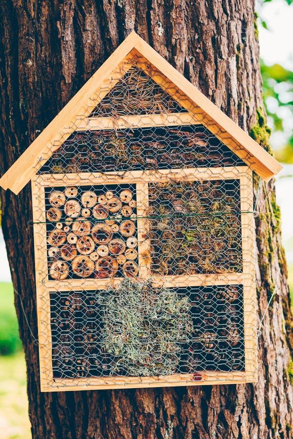 Handgemachtes Haus für Winterschlaf haltene Insekten lizenzfreie stockfotos