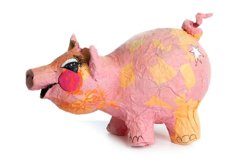 Handgemachtes Spielzeug der netten kleinen rosafarbenen Schweinkarikatur auf Weiß lizenzfreie stockbilder