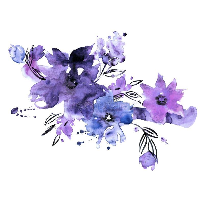 Handgemalte Blumen des netten Aquarells stock abbildung