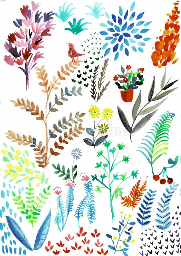 Handgemalte exotische Bl?tter und Blumen Aquarell heliconia Sammlung lokalisiert auf wei?em Hintergrund lizenzfreie abbildung