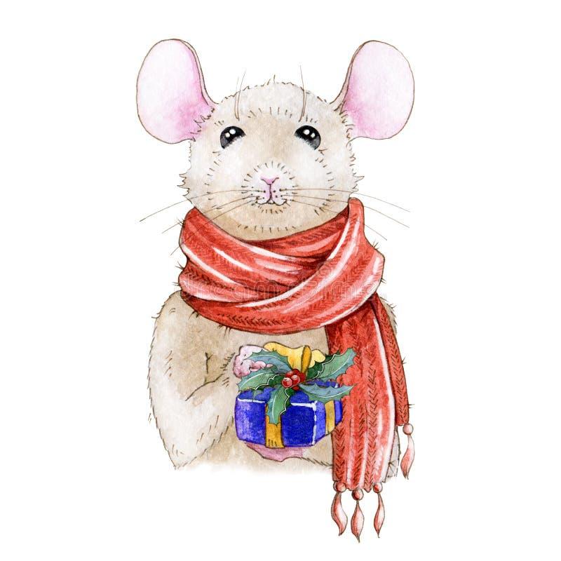 Handgemalte Illustration des Weihnachtsaquarells einer netten Maus in einem roten warmen Schal des gemütlichen Winters Ein chines lizenzfreie abbildung