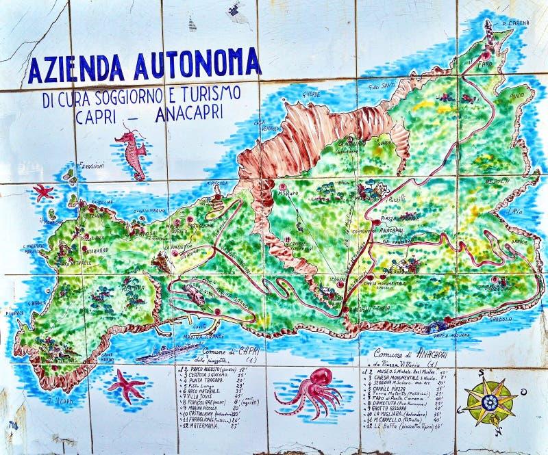 Handgemalte Karte Von Capri-Insel Redaktionelles Bild - Bild von ...