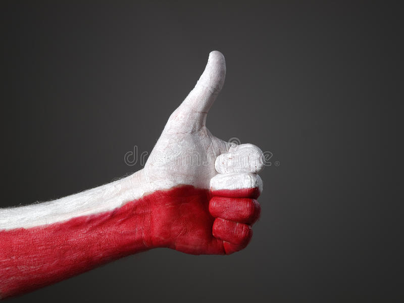 Handgemalte Markierungsfahne Polen, Bestimmtheit ausdrückend lizenzfreie stockbilder