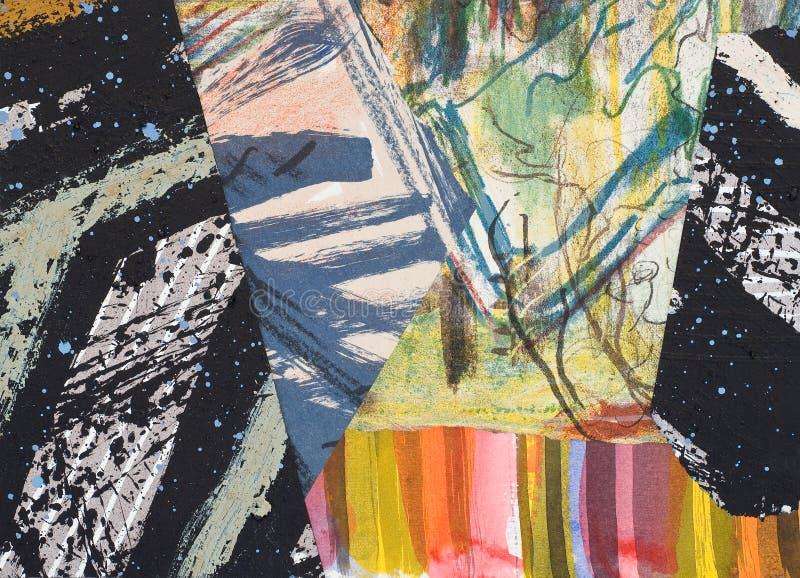 Handgemalte Papiercollage stockbilder