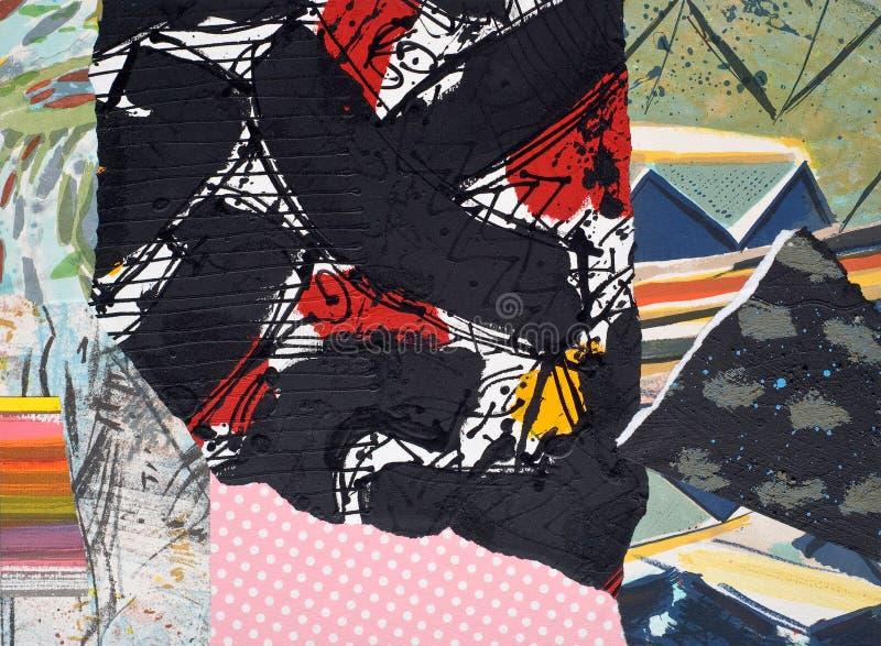 Handgemalte Papiercollage stockbild