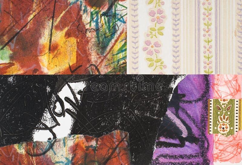 Handgemalte Papiercollage stockfotos