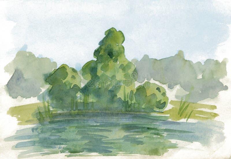 Handgemalte Skizze des Aquarells der Natur landschaft Baum stock abbildung