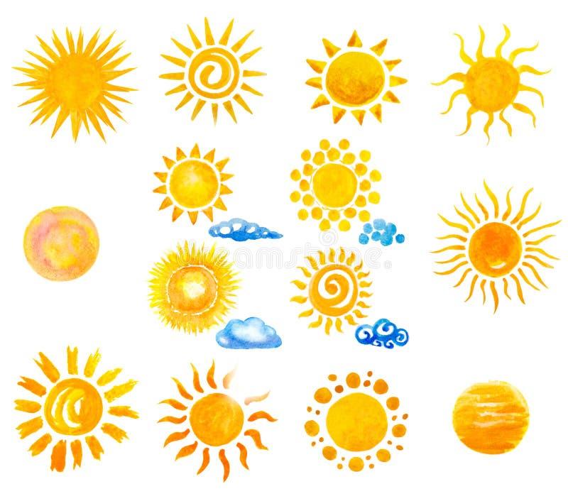 Handgemalte Sonne und Wolken des Aquarells vektor abbildung