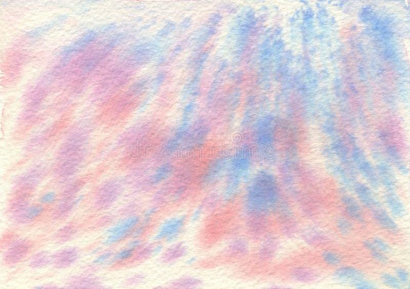 Handgemalter abstrakter roter blauer rosa Aquarell-Hintergrund Textur stockfotos