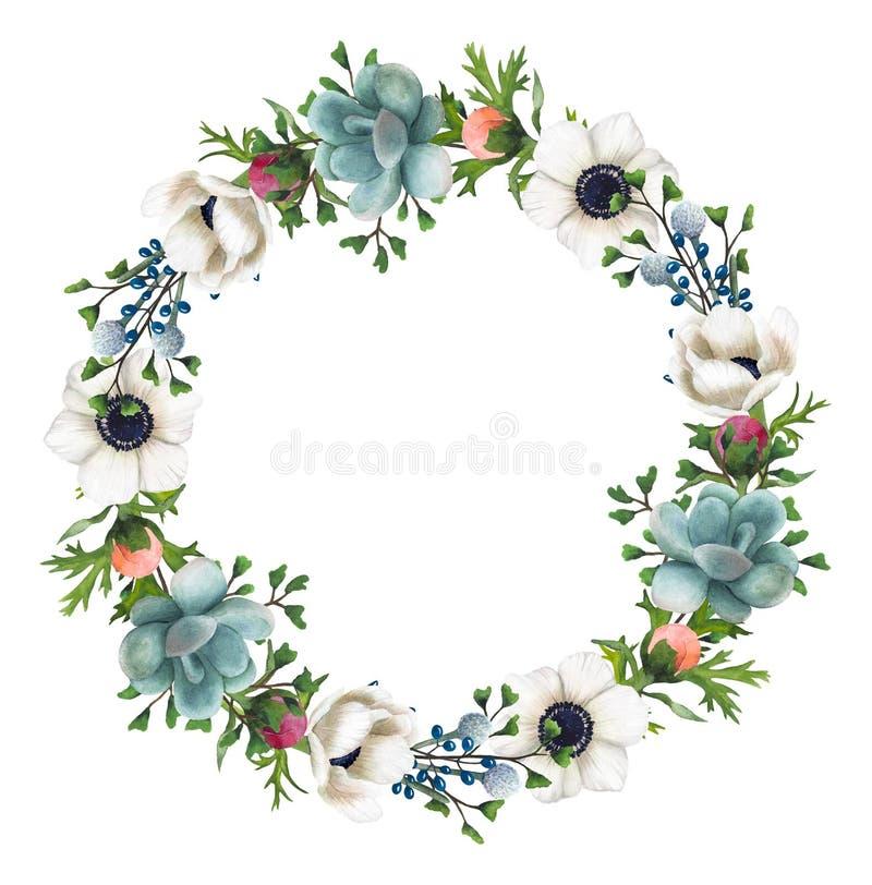 Handgemalter Aquarell Blumen-und Succulents-Kranz stockfoto