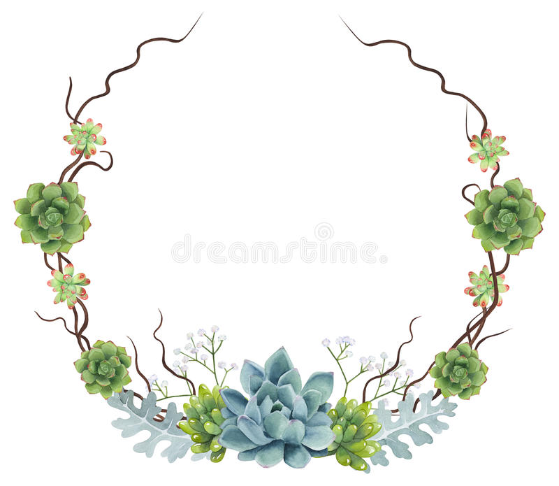 Handgemalter Aquarell Succulents-Kranz stockfotografie