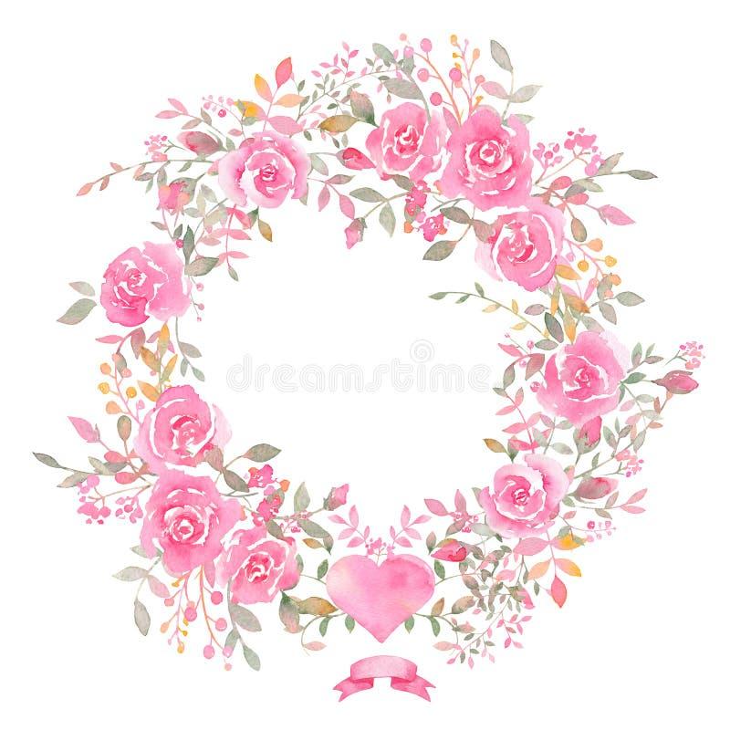 Handgemalter Aquarellkranz mit rosafarbenen Blumen vektor abbildung