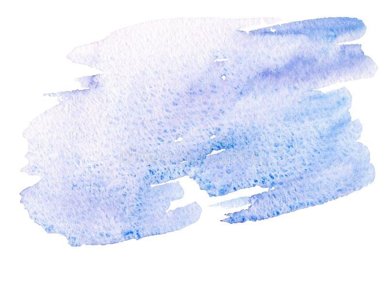 Handgemalter Bürstenanschlag des abstrakten blauen Aquarells auf Weißbuch lizenzfreies stockbild