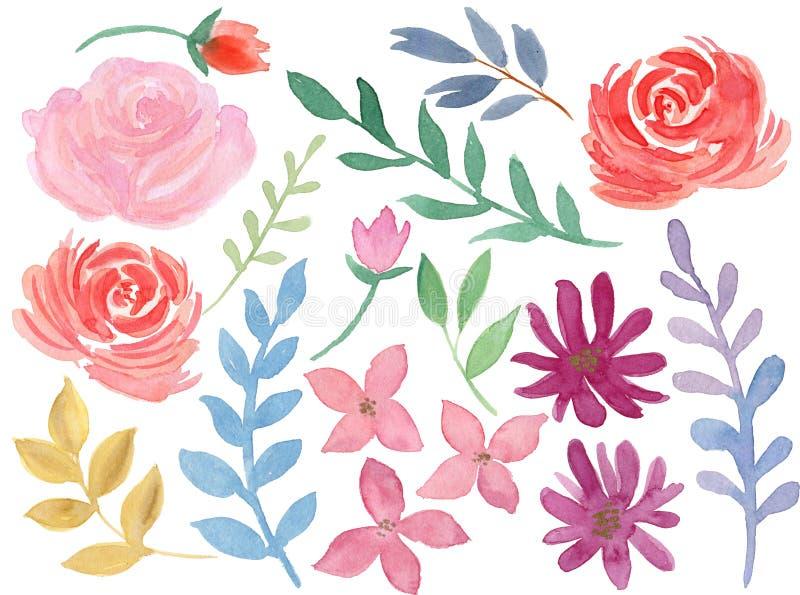 Handgemalter Blumenbunter süßer Elementpastellsatz lizenzfreie abbildung