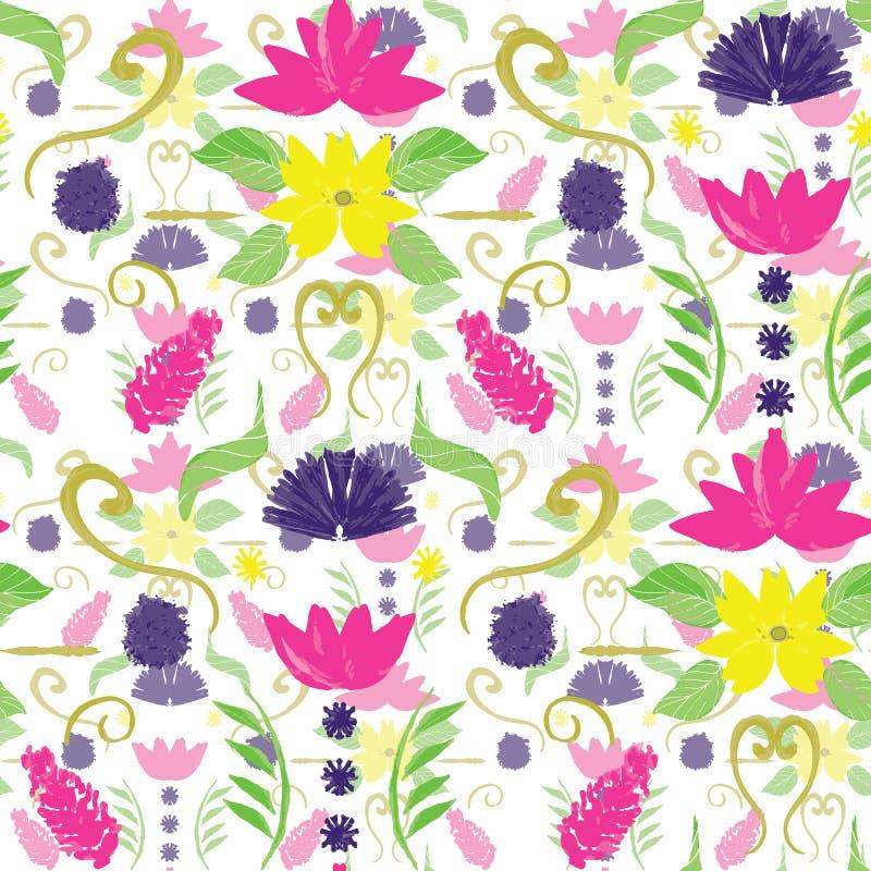 Handgemalter Blumendamast in den hellen Farben mit der Überlagerung und Transparenzeffekt Nahtloses Muster des völlig editable Ve vektor abbildung