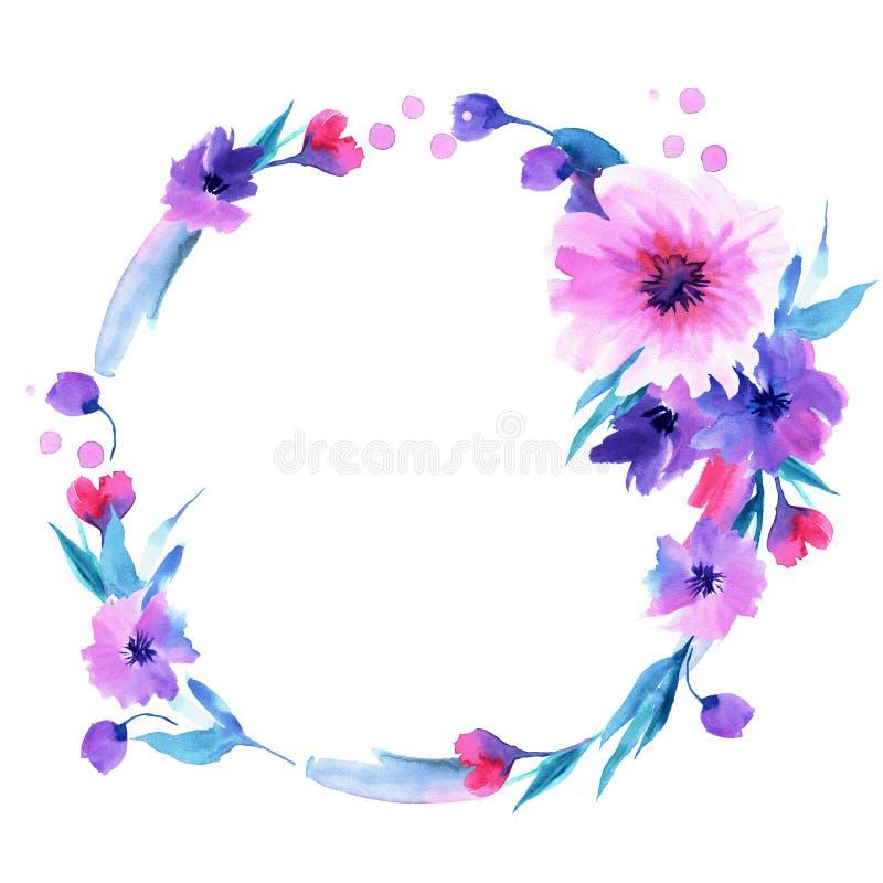 Handgemalter Blumenkranz des netten Aquarells mit purpurroten Blumen einladung Abstraktionsabbildung für Hochzeit Kaninchen mit e lizenzfreie abbildung