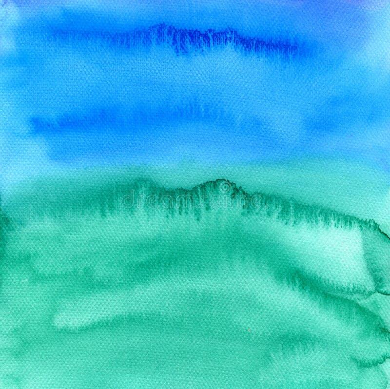 Handgemalter Hintergrund des abstrakten Aquarells Bunte Beschaffenheit in den grünen, blauen und purpurroten Farben stock abbildung