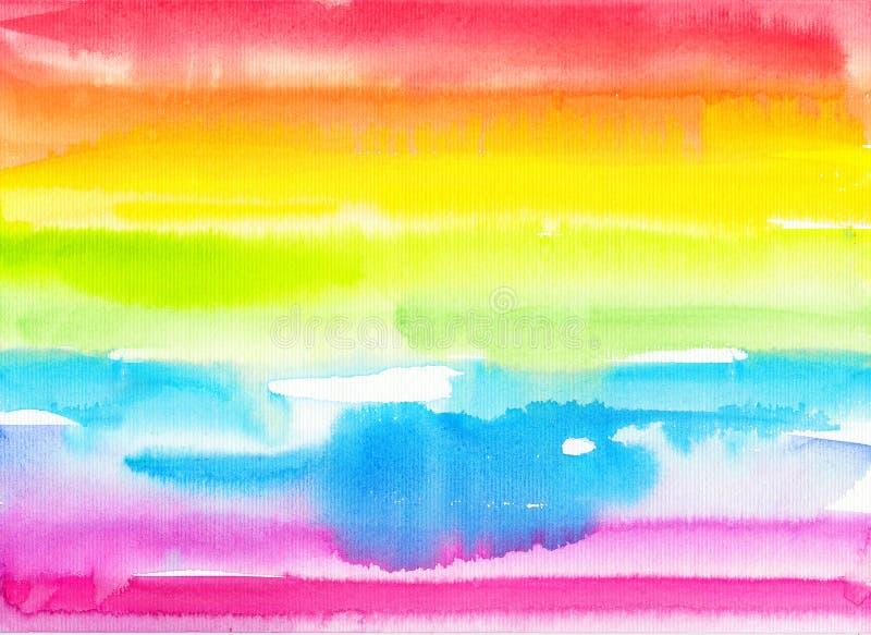 Handgemalter Regenbogenhintergrund des Zusammenfassungsaquarells lizenzfreie stockbilder