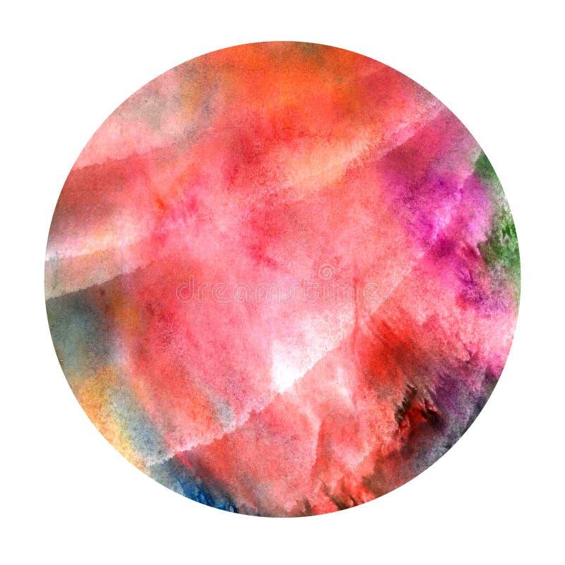Handgemaltes Aquarell Heller roter abstrakter gemalter Hintergrund Bunte Beschaffenheit stockfoto