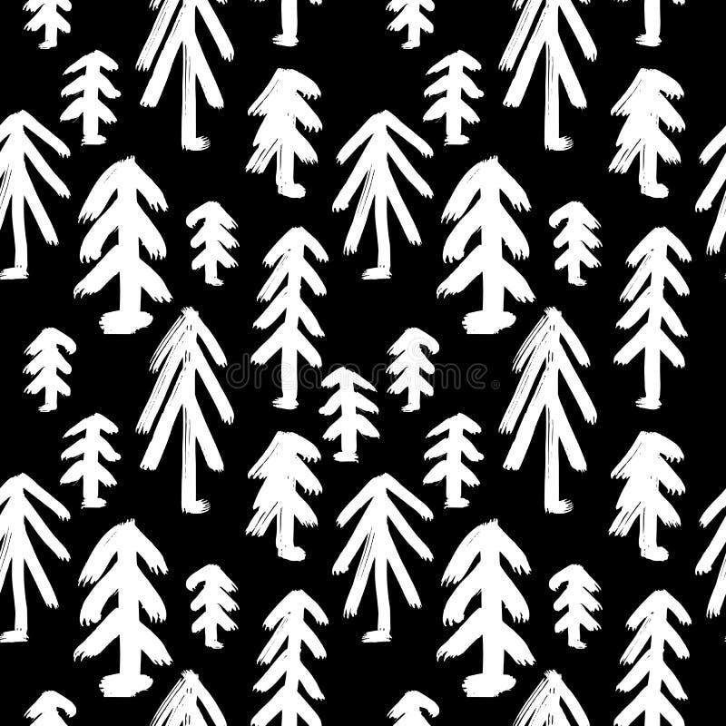 Handgemaltes nahtloses Muster des Vektors mit Tintenbürstenanschlägen lizenzfreie abbildung