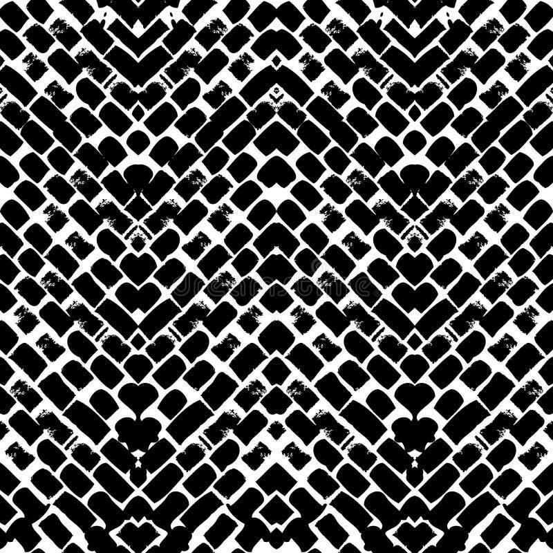 Handgemaltes Zickzackschwarzweiss-muster vektor abbildung