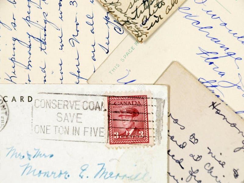 Handgeschriebene alte Postkarten lizenzfreie stockfotos