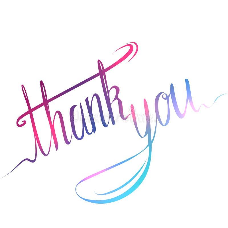 Handgeschriebene Aufschrift Danke zu kardieren Kalligraphische bunte Aufschrift vektor abbildung