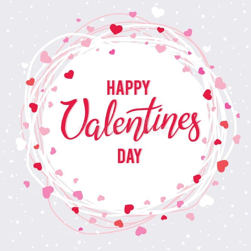 Handgeschriebene Aufschrift glücklicher Valentinsgruß ` s Tag in einem Rahmen von Herzen und von Linien vektor abbildung