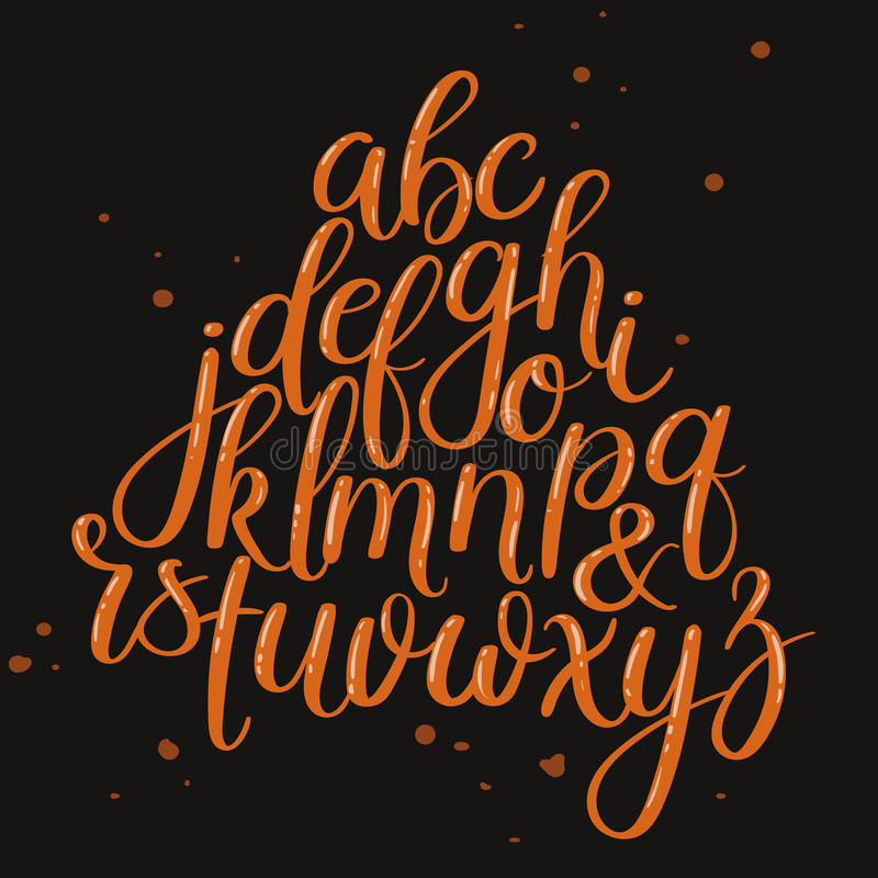 Handgeschriebene Bürsten-Buchstaben ABC Moderne Kalligraphie Handbeschriftungs-Vektor-Alphabet stock abbildung